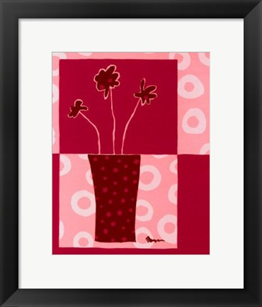 Framed Minimalist Flowers in Pink III Print