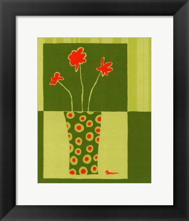 Framed Minimalist Flowers in Green I Print