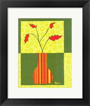 Framed Minimalist Flowers in Green IV Print