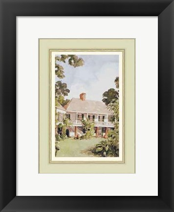 Framed Charming West Indian Plantation House Print