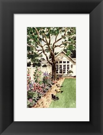 Framed Fuana Contemplating Flora in the Hamptons Print