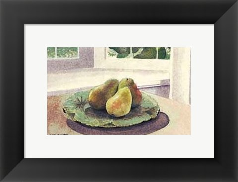 Framed Still Life with Pears in a Sunny Window Print