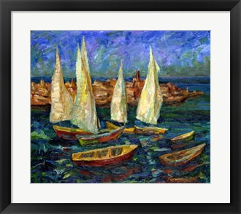 Framed Sails in the Bay Print