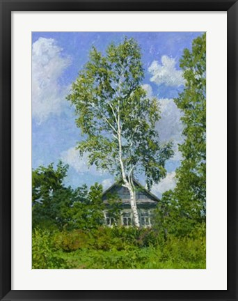 Framed Birch Tree Near Dwelling Print