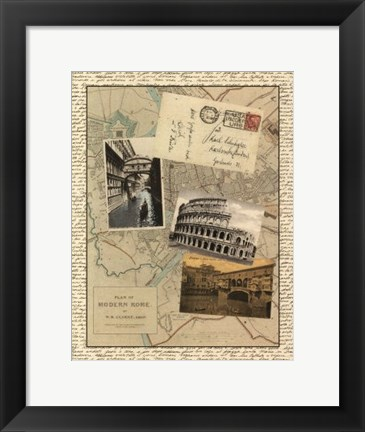 Framed Post Cards from Rome Print