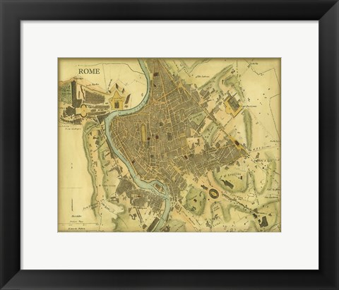 Framed Map of Rome Print
