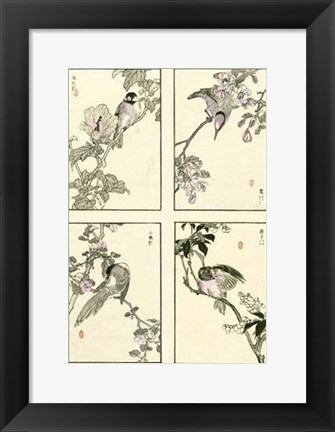 Framed Woodblock Oriental Birds Print