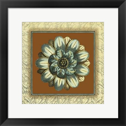 Framed Brown & Blue Rosettes I Print