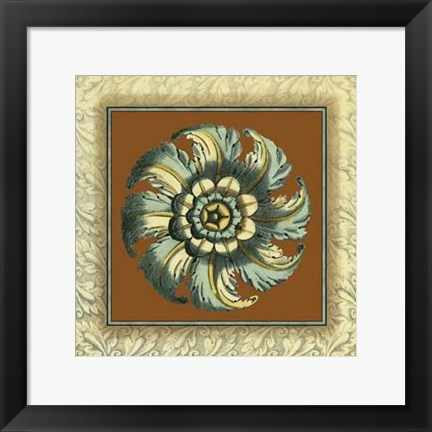 Framed Brown & Blue Rosettes II Print