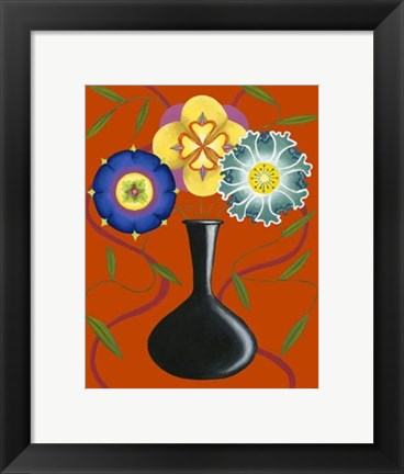 Framed Stylized Flowers in Vase I Print