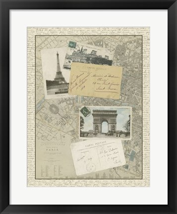 Framed Vintage Map of Paris Print