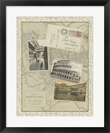 Framed Vintage Map of Rome Print