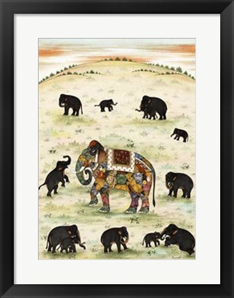 Framed Indian Elephant Gathering Print