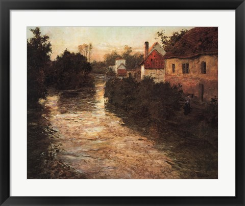 Framed Village on the Bank of a Stream Print