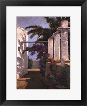 Framed Bougainvillea & Palm Trees Print