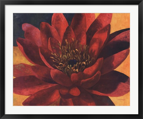 Framed Red Water Lily Print