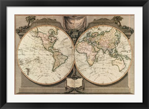 Framed New Map of the World Print