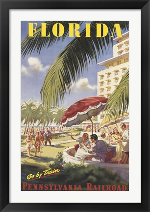 Framed Florida Go by Train Print