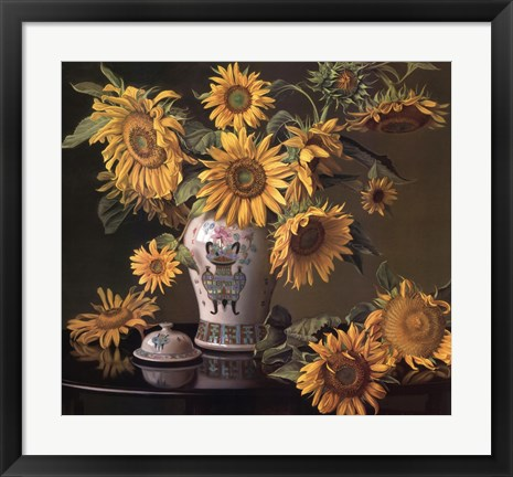 Framed Sunflowers in a Chinese Vase Print