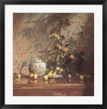 Framed Crab Apples with Japanese Print Print