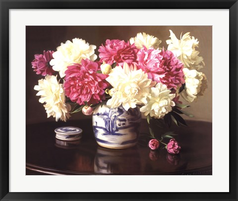 Framed Peonies in Ginger Jar Print
