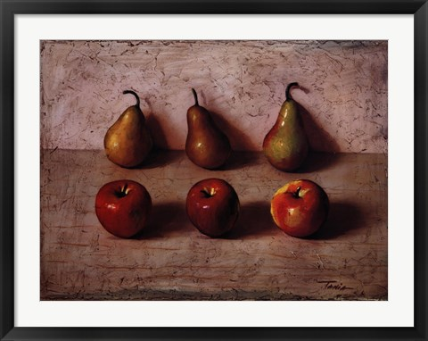 Framed 3 Apples and 3 Pears Print