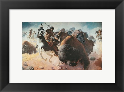 Framed Buffalo Hunt Print