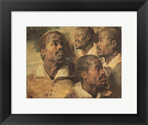 Framed Four Negro Heads Print