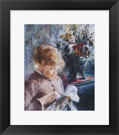 Framed Lady Sewing Print