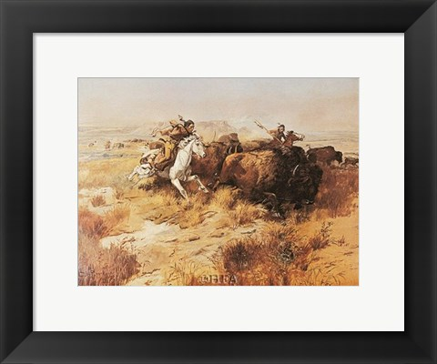 Framed Indian Buffalo Hunt Print