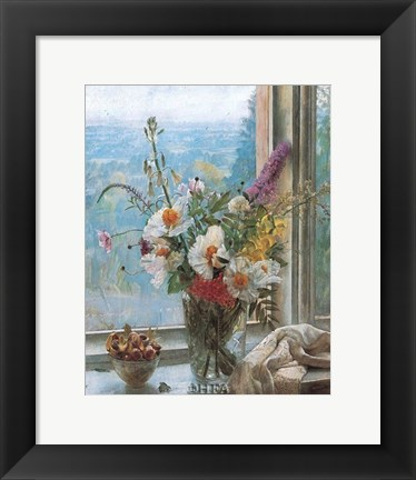 Framed Still Life with Flowers & Chestnuts Print