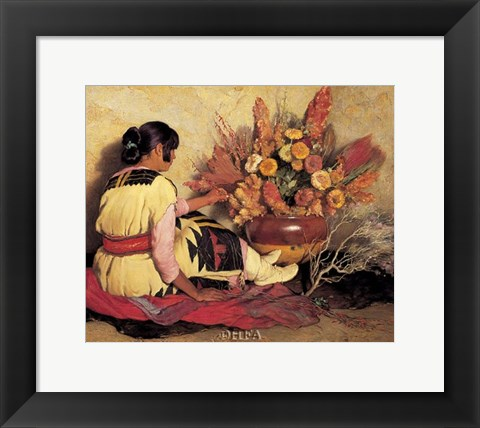 Framed Crucita, a Taos Indian Girl Print