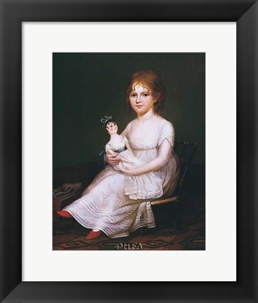Framed Girl Holding a Doll Print
