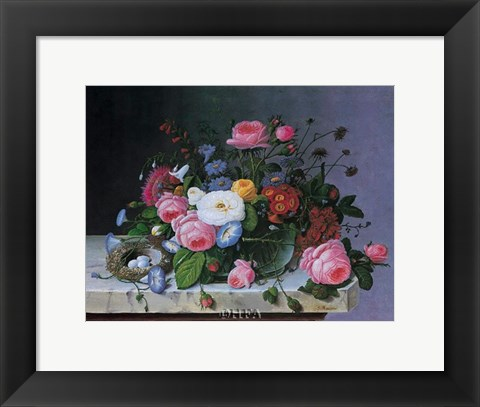 Framed Still Life with Flowers and Bird Nest Print