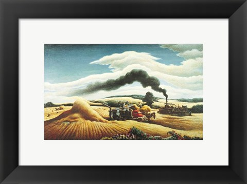 Framed Threshing Wheat Print