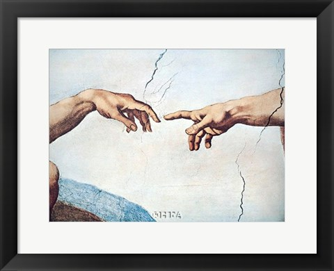 Framed Hands of God and Man Print
