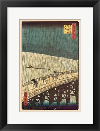 Framed Ohashi Bridge in the Rain Print