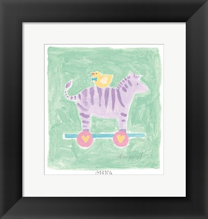Framed Zebra Toy Print