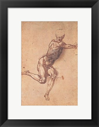 Framed Study of a Seated Male Figure Print