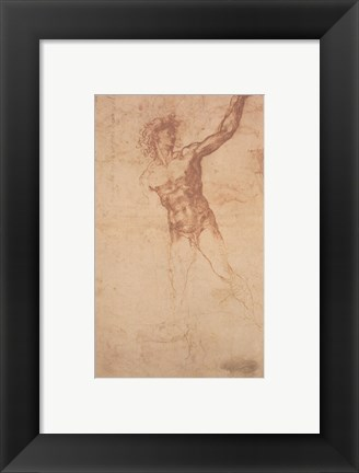 Framed Study of a Standing Male Figure Print