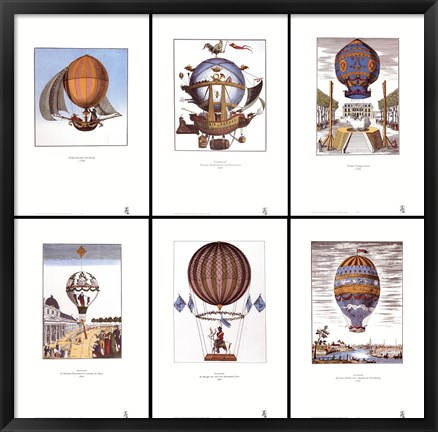 Framed Balloons (set of six prints each 12 X 18 in) Print
