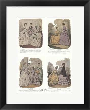 Framed French Fashion Set (Set of Four) Print