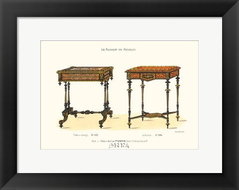 Framed Antique Tables - patterned Print