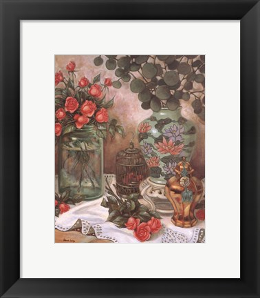 Framed Roses with Bird Cage Print