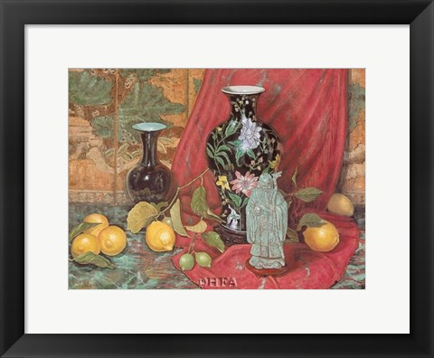 Framed Lemons with Black Vase Print