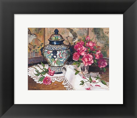 Framed Roses with Temple Jar Print