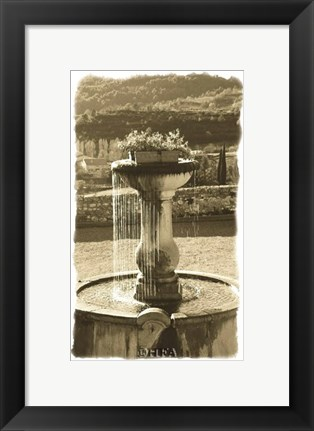 Framed Fountain Overlooking City Print