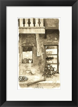 Framed House with Flower Pots Print