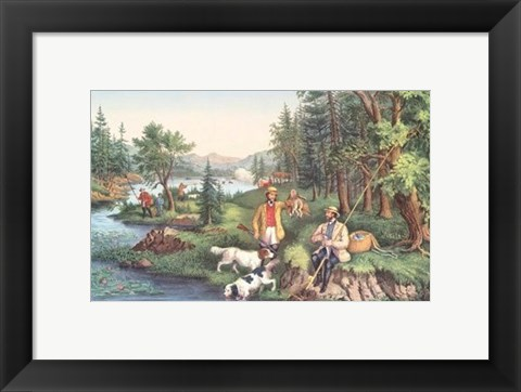 Framed Hunting Fishing & Forest Scenes Print