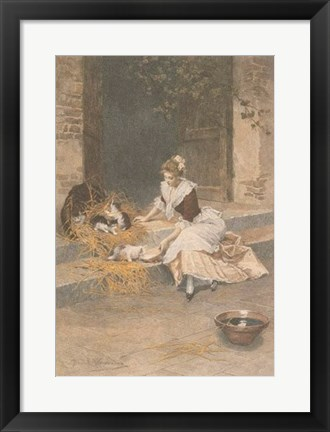 Framed Mes Chats Print